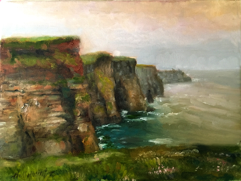 Cliffs of Moher, Ireland 9 x 12 in. Oil on canvas