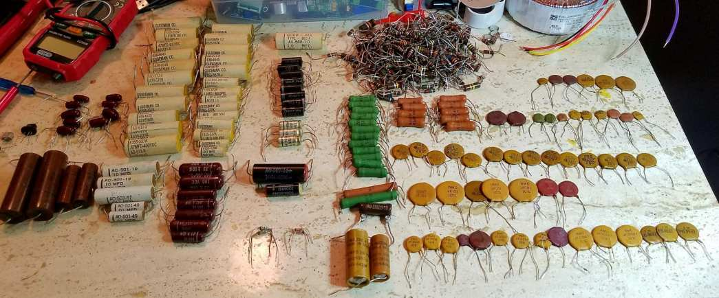 Here is my collection of vintage parts pulled from a 1950's organ. Mullard, Temple, Gudeman Co, Good-All, Mallory, etc.