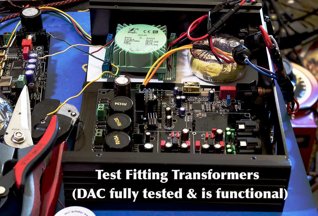 ES9038Pro Transformers Test Fitting in Enclosure