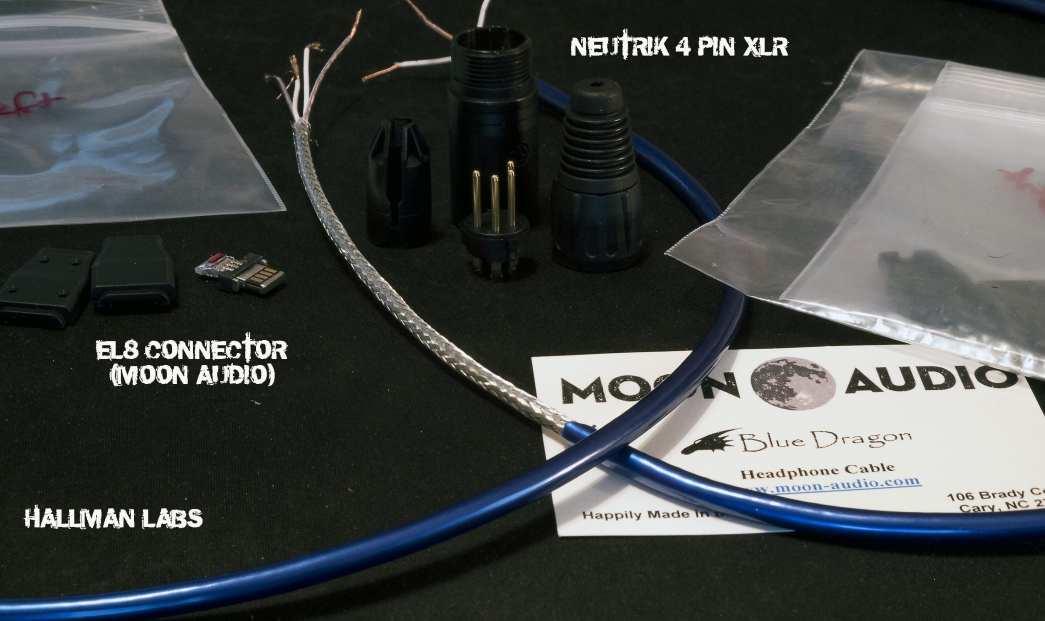 Blue Dragon Cable Neutrik 4-Pin XLR EL-8 Connector Moon Audio