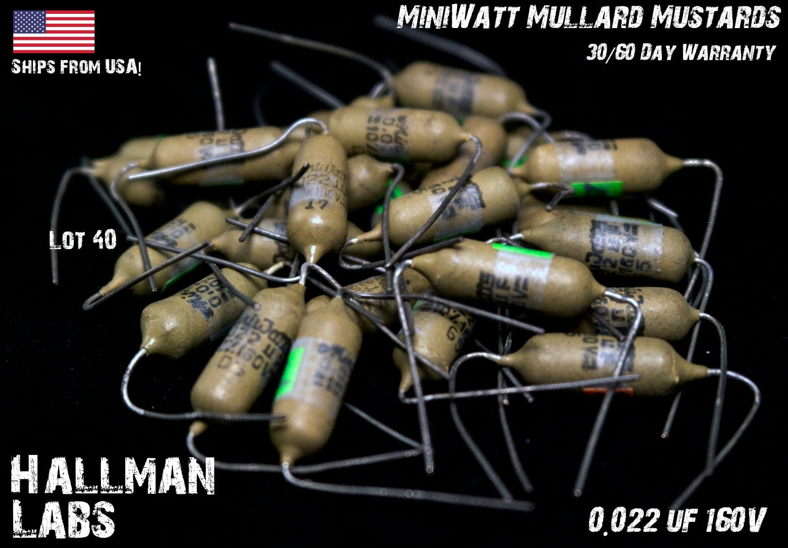 4x Vintage Mullard 0,1µF 160V Mullard//Philips Mustard Guitar Amp Capacitor