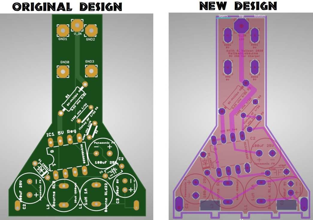 Hallman Labs first two PCB revisions compared and discussed