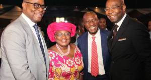 L – R: Otunba Abimbola Ogunbanjo, President, National Council, The Nigerian Stock Exchange (NSE); Dr. Ngozi Okonjo-Iweala, Director-General, World Trade Organisation (WTO); Mr. Oscar N. Onyema, OON, Chief Executive Officer, NSE; and Mr. Aigboje Aig-Imoukhuede, FCIB, CON, Ex-Officio, National Council, NSE.