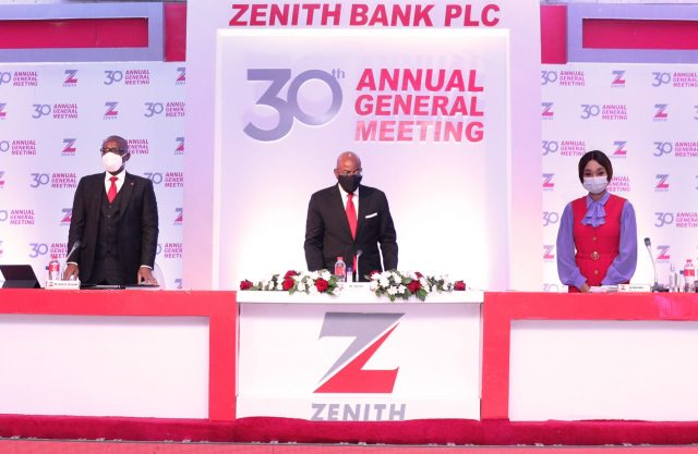 Chairman, Zenith Bank Plc, Mr. Jim Ovia (Centre) flanked by the Group Managing Director/ CEO, Mr. Ebenezer Onyeagwu (Left) and the Deputy Managing Director, Dame (Dr.) Adaora Umeoji (Right) at the 30th Annual General Meeting of the bank held at the Civic Centre, Victoria Island, Lagos on Tuesday, March 16, 2021.