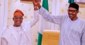 Gboyega Oyetola and Muhammadu Buhari