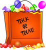 new halloween clipart image: bag of trick or treat halloween candy