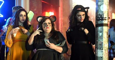 """SATURDAY NIGHT LIVE -- """"Tom Hanks"""" Episode 1708 -- Pictured: (l-r) Vanessa Bayer, Aidy Bryant, and Cecily Strong during the """"A Girl's Halloween"""" sketch on October 22, 2016 -- (Photo by: Caroline De Quesada/NBC)"""