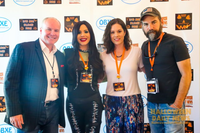 Halloween International Film Festival 2016 special guests Bill Brock ('I'll Have Another'), Jamie Lee Smith ('Shadow of the Missing'), Kaitlin Suggs ('Misread'), and Anthony Reynolds ('Times Like Dying') on the orange carpet in Kill Devil Hills, NC. (photo by Halloween Daily News)