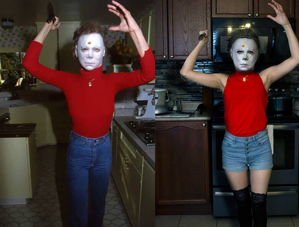 Lovina Yavari of the fan film 'Halloween: Reflections' recreating an iconic photo by Kim Gottlieb Walker from the set of John Carpenter's 'Halloween'.