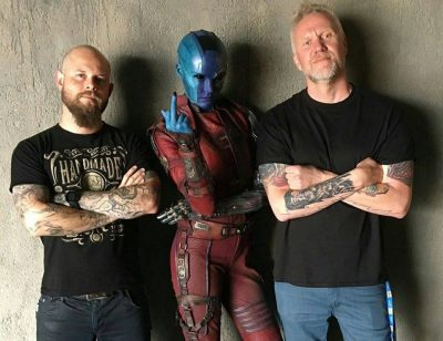 Alexei Dmitriew and Christopher Nelsom with Karen Gillan as Nebula on the set of 'Guardians of the Galaxy Vol. 2'.