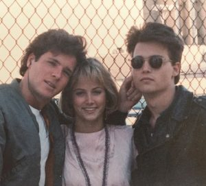 Cathy Podewell with David Oliver and Johnny Depp on the set of 'Lady Blue'.