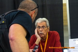 HDN's Matt Artz interviewing Jim Winburn at H40: Forty Years of Terror (photo by Sue Artz for Halloween Daily News)