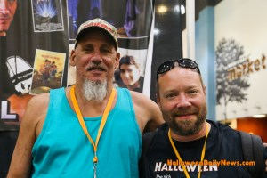 A. Michael Lerner with HDN's Matt Artz at H40: Forty Years of Terror. (Photo by Sue Artz for Halloween Daily News.)