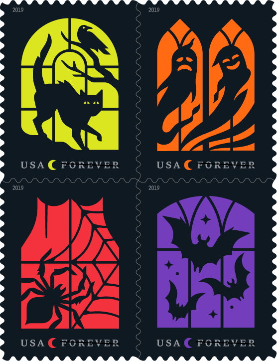 """UU.S. Postal Service """"Spooky Silhouettes"""" 2019 Halloween Stamps"""