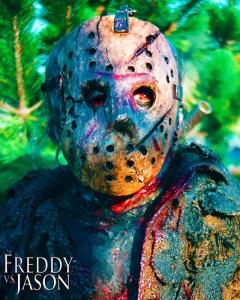 Douglas Tait as Jason Voorhees on the set of 'Freddy vs Jason'.