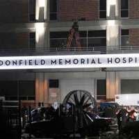 Haddonfield Memorial Hospital recreated on the set of 'Halloween Kills' in Wilmington, North Carolina.