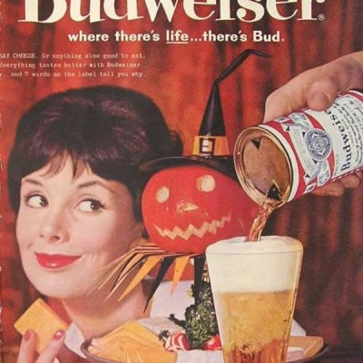 budweiser beer classic Halloween ad, jack-o-lantern, pumpkin