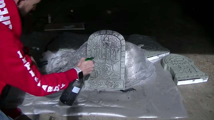 Upgrade Your Cheap Dollar Store Halloween Tombstones By Distressing With Black Paint
