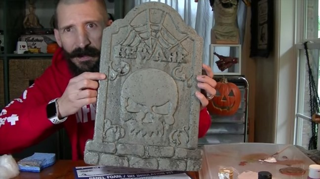 Upgrade Your Cheap Dollar Store Halloween Tombstones By Distressing With Spray Paint