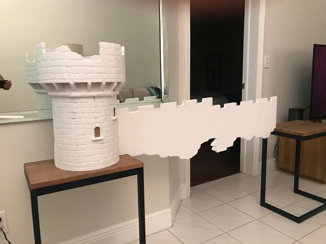 Foam Halloween Office Decoration DIY Castle With Wall Under Construction