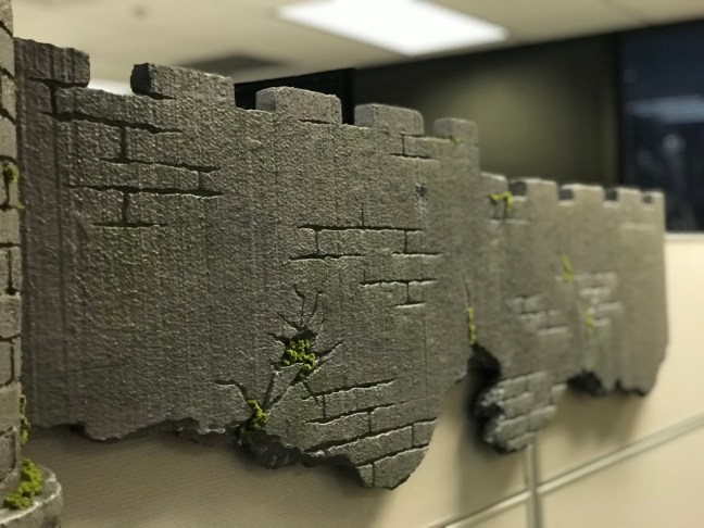 Foam Halloween Office Decoration DIY Castle Wall Closeup With Moss