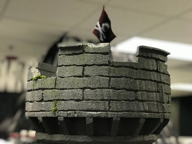 Foam Halloween Office Decoration DIY Castle and Wall Installed Closeup of Flag and Moss