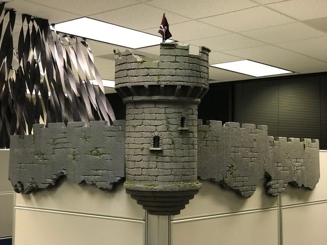 Halloween office decoration castle finished and unlit