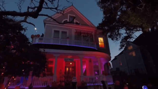 Ghost Manor Halloween Decorated House Show Fire Upstairs