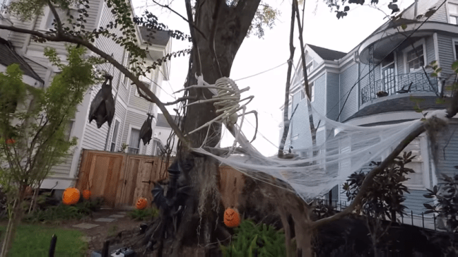 Ghost Manor Halloween Decorated House Show Spider Web Daytime