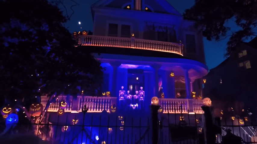 Ghost Manor Halloween Decorated House Show Night View