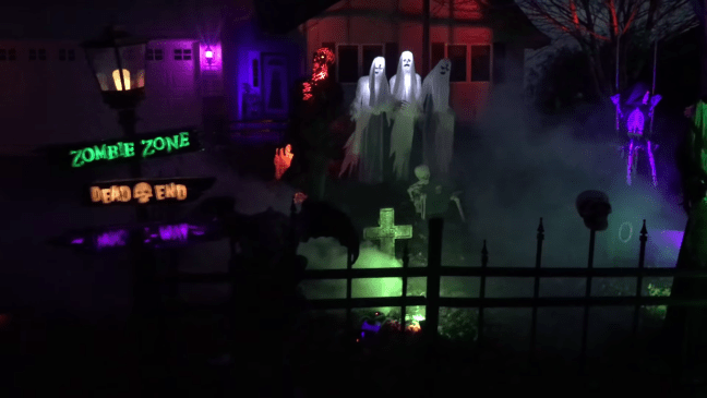 Halloween Graveyard Decoration with Animatronics Warning Signs