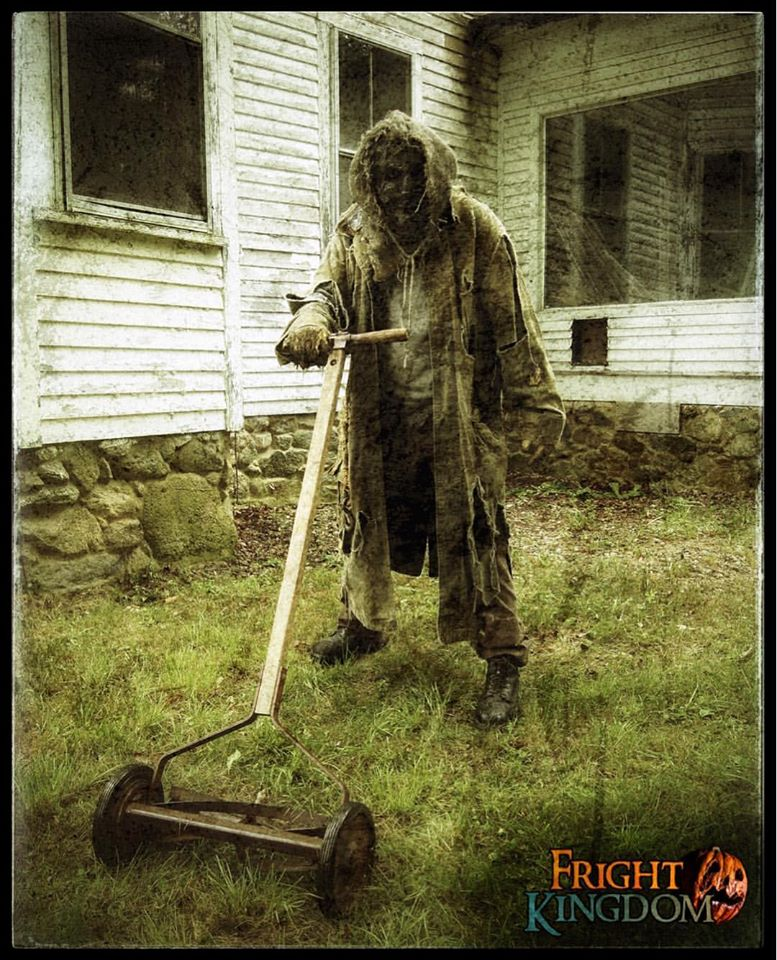 Fright Kingdom Scariest Haunted House in the US Zombie Mowing Lawn