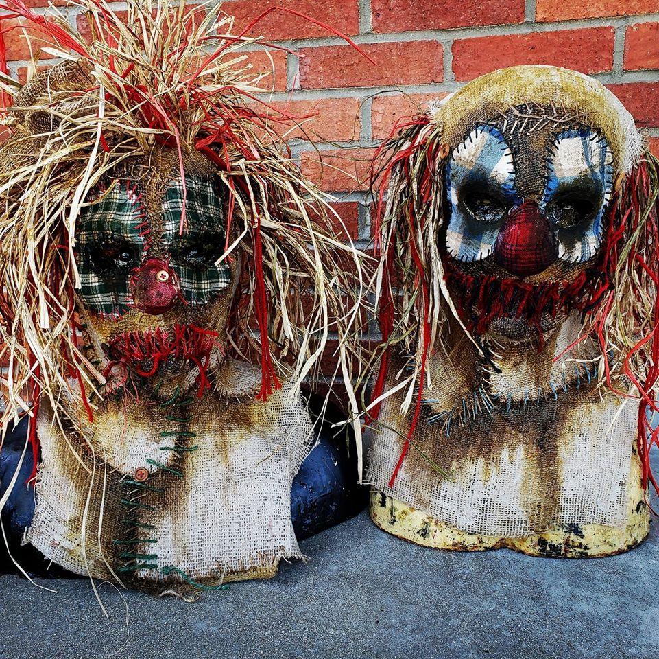 Sinister FX Burlap Double Clown Masks