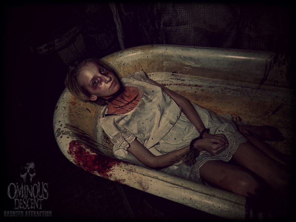 Ominous Descent Florida Scariest Haunted House Girl In Tub