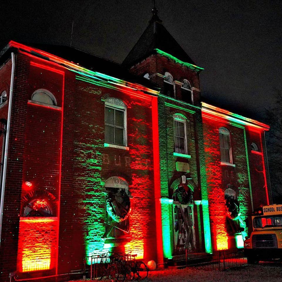 The Dent Schoolhouse Building Exterior Lit For Christmas