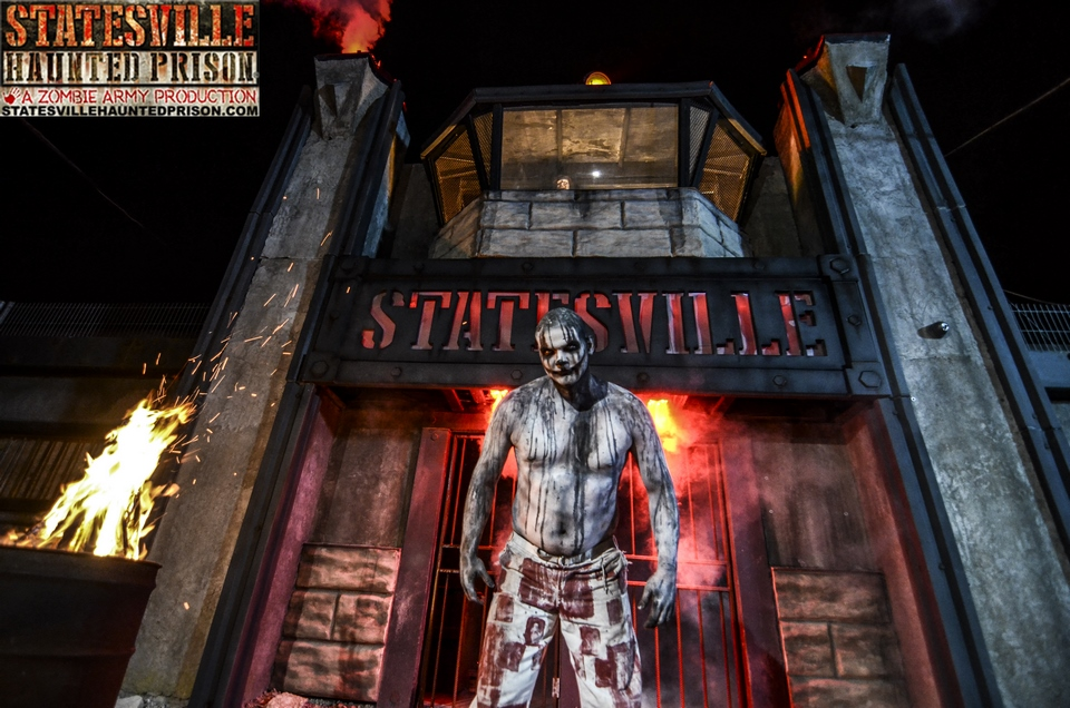 Statesville Haunted Prison Creature at Front Sign