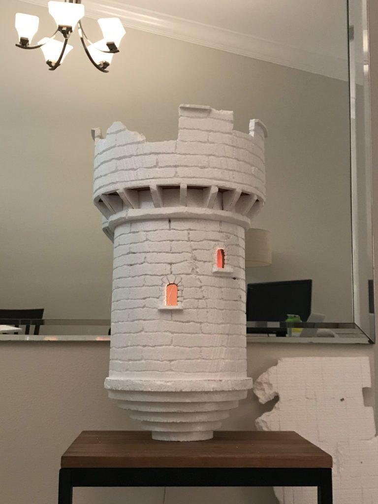 Foam Halloween Office Decoration DIY Castle Lit Up Inside