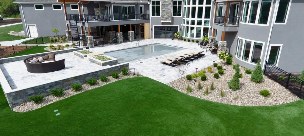 overhead view of artificial grass backyard in Kansas City