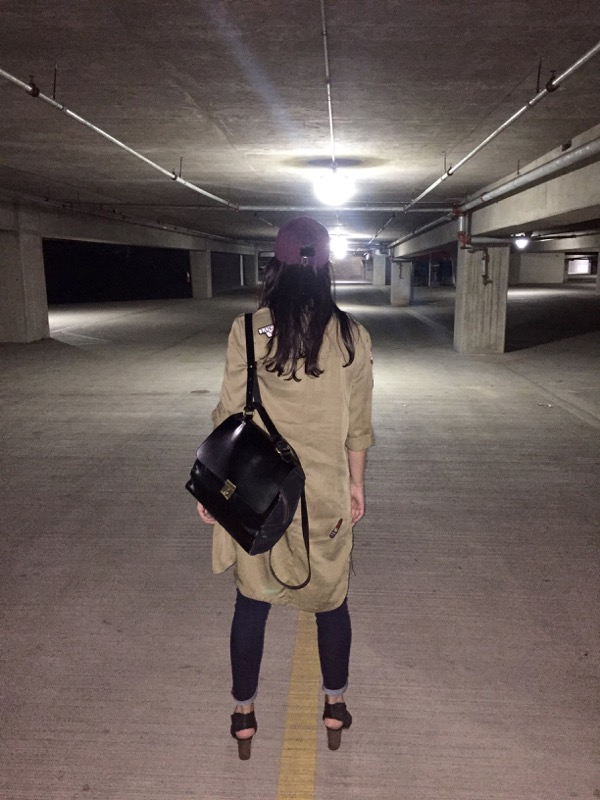 Peggy in a scary parking garage underneath disturbia screams in the park