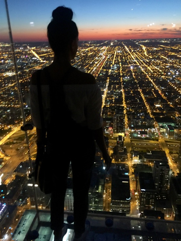 night view from the skydeck Chicago