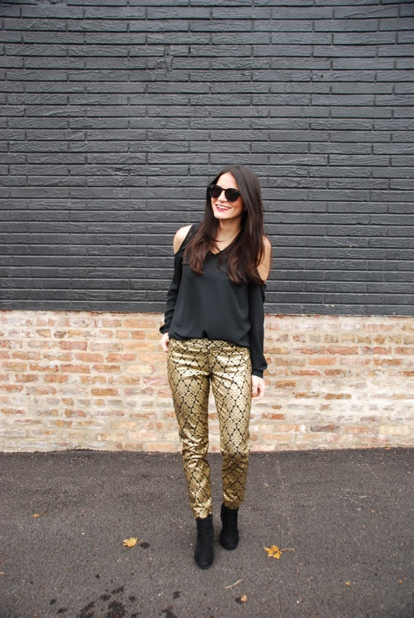 walking in gold brocade pants