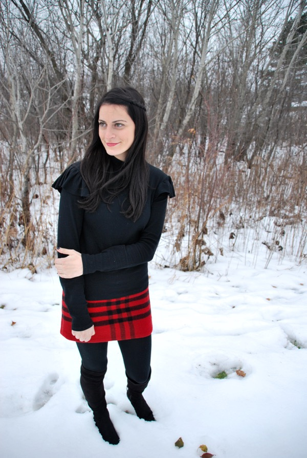 merry christmas burberry plaid skirt in the snow