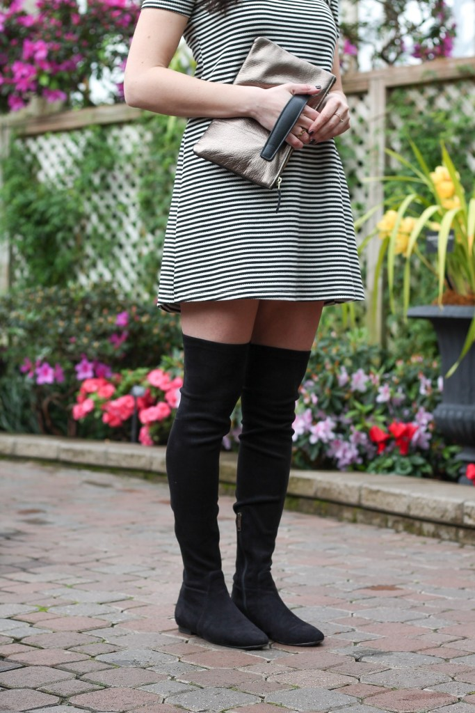 stripe dress, otk black suede boots and pewter clutch
