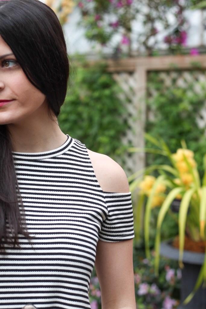 cold shoulder stripe dress