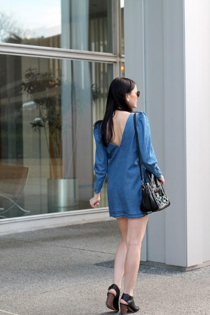 v back chambray dress