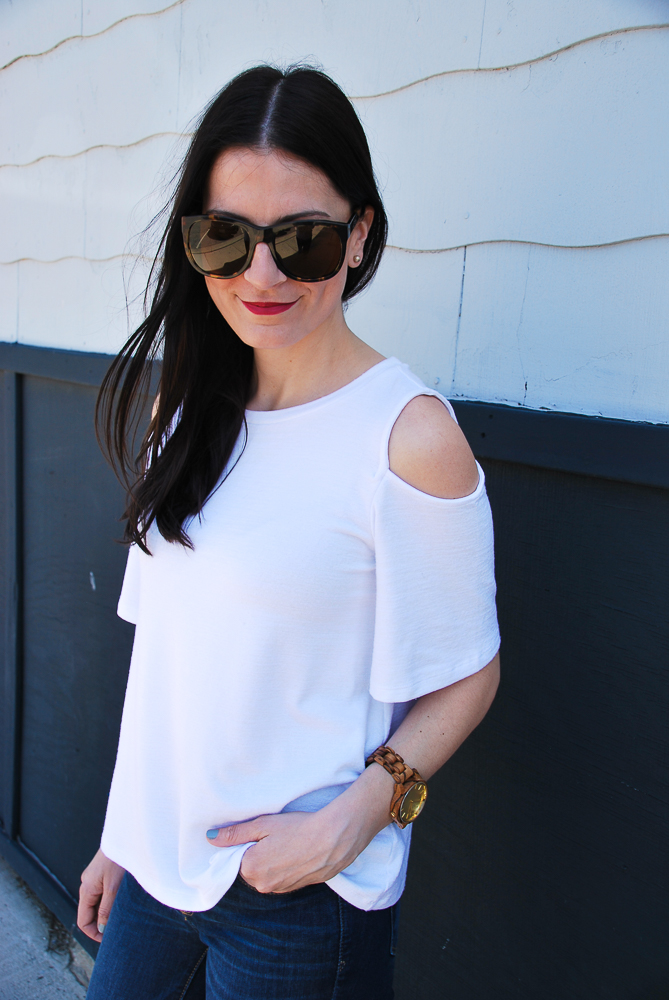 white cut out shirt
