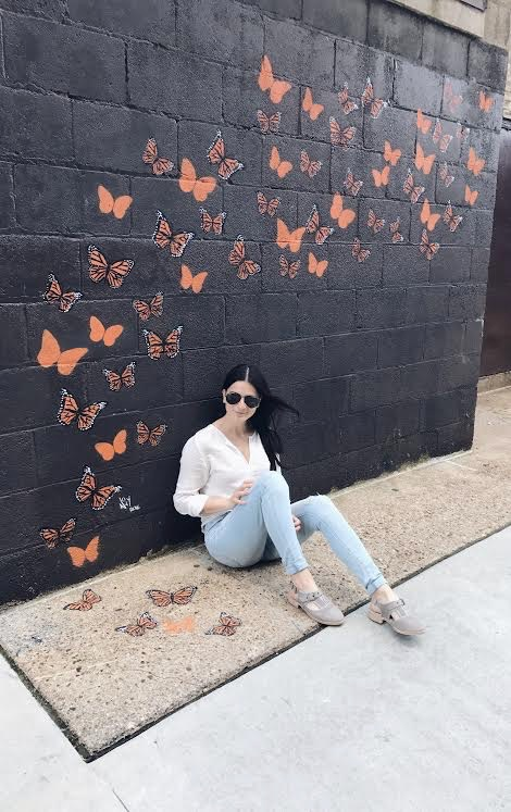 Black Alley Cat Butterfly Mural