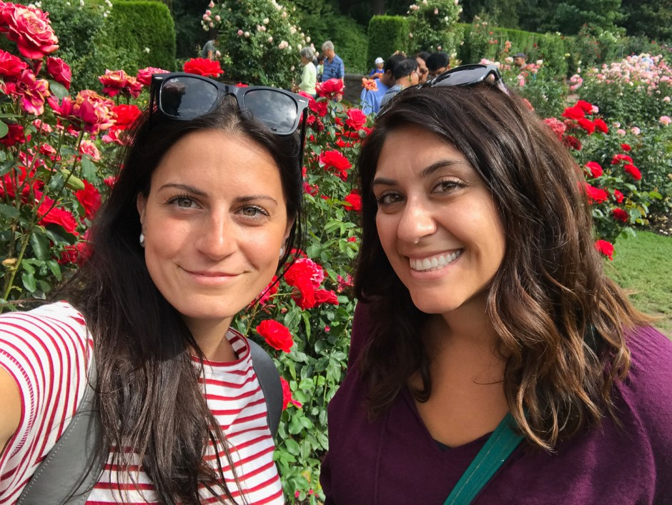 dina and I at the rose test garden
