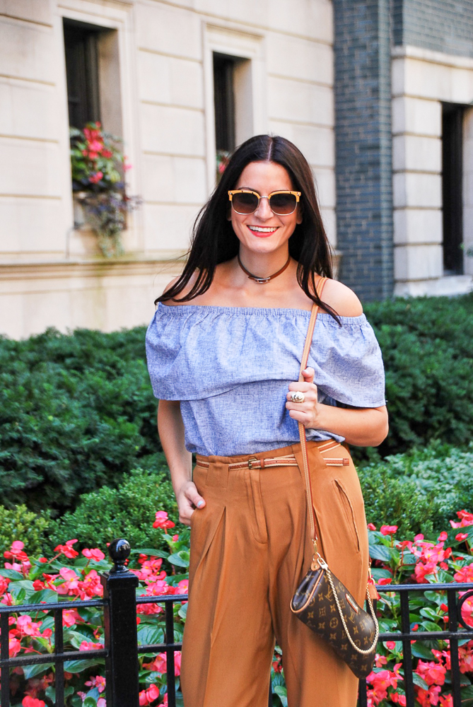 off the shoulders chambray top with high waist mustard pleated pants