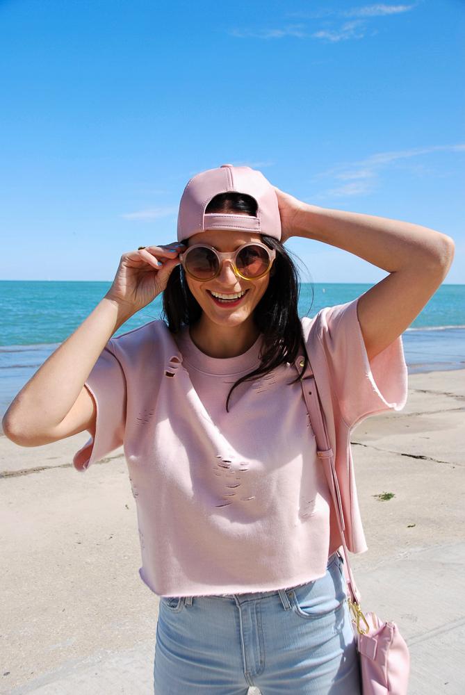backwards pink hat